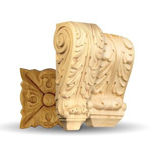 French Acanthus Wood Elements by Brown Wood