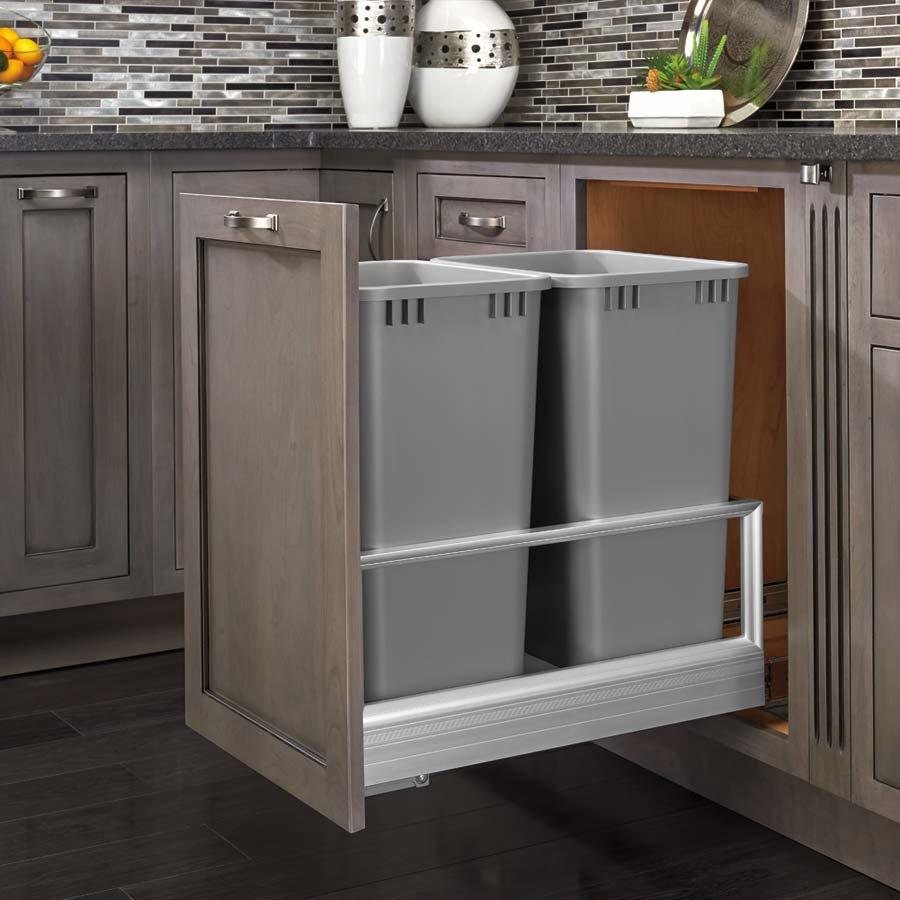 Rev A Shelf Double Trash Pullout 50 Quart Silver 5149 2150DM