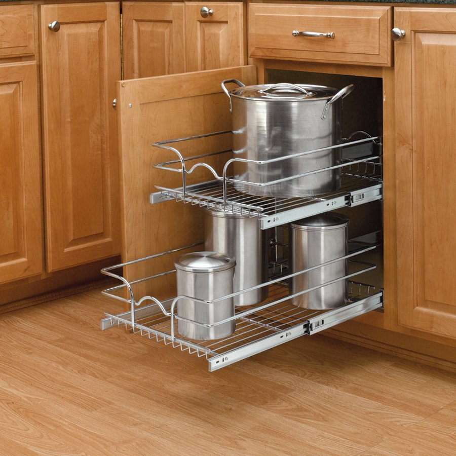 "Kitchen Shelf Organiser: Rev-A-Shelf 15"" Double Pull-Out Basket Chrome 5WB2-1522-CR"