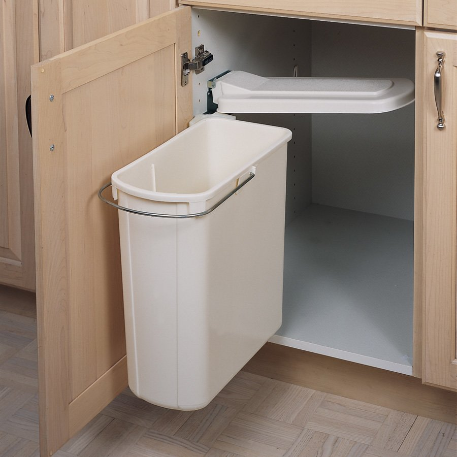 Kitchen Garbage Can Cabinet: Rev-A-Shelf Single Pivot Out Trash 20 Litre-White 8-700411
