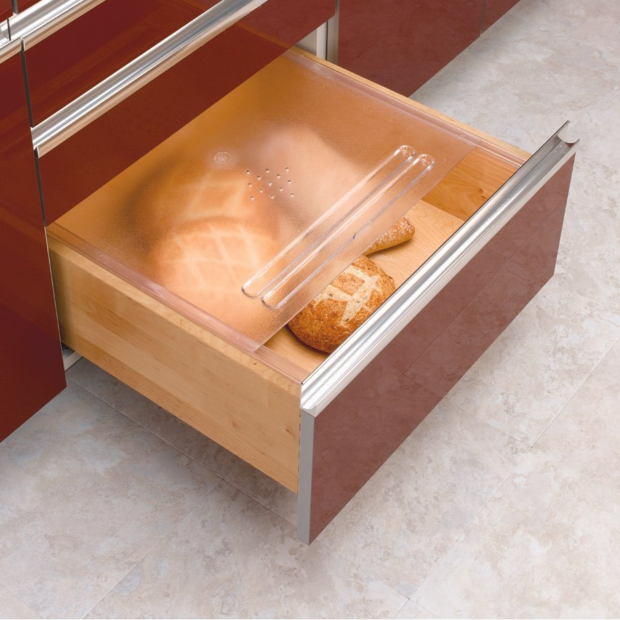 kitchen cabinet storage inserts rev a shelf translucent bread drawer cover kit 16 3 4 quot w 19648