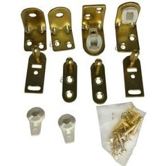 Gravity Pivot Hinge Set for Cafe or Bar Doors - Bright Brass