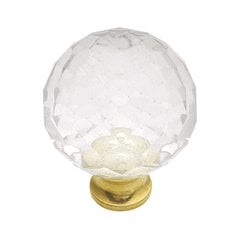 Crystal Palace 1-3/16 Inch Diameter Crystal Acrylic/Polished Brass Cabinet Knob