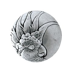 Tropical 1-3/8 Inch Diameter Brilliant Pewter Cabinet Knob <small>(#NHK-324-BP-L)</small>