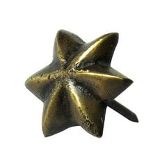 Small 6-Point Star Clavo 11/16 inch Diameter - Antique Brass