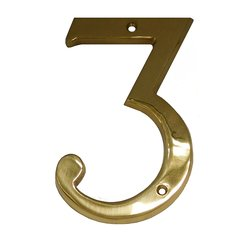 """6"""" House Number """"3"""" Bright Brass <small>(#BN6-3-605)</small>"""