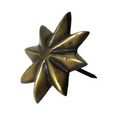 "Medium 8-Point Star Clavo 1-1/2"" Dia - Antique Brass"