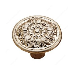 Art Deco 1-3/16 Inch Diameter Brushed Nickel Cabinet Knob