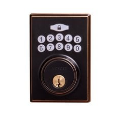 Contemporary Electronic Keypad Deadbolt Grade 3 Aged Bronze