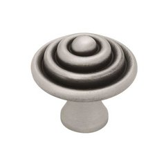 Circles & Scrolls 1-1/2 Inch Diameter Brushed Satin Pewter Cabinet Knob <small>(#PBF528-BSP-C)</small>