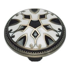 Canterbury 1-1/2 Inch Diameter Black And White Cabinet Knob