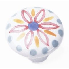 Sorrento Porcelain Knob 1-1/2 inch Diameter Hand Painted
