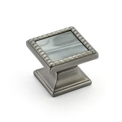 Kingsway Square Knob 1-1/4 inch Diameter Antique Nickel/Greystone <small>(#21-AN-GS)</small>