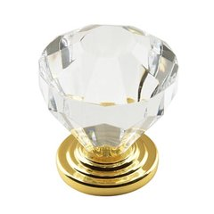 Traditional Classics 1-1/4 Inch Diameter Acrylic/Burnished Brass Cabinet Knob <small>(#BP14303-CBB)</small>