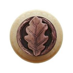 Leaves 1-1/2 Inch Diameter Antique Copper Cabinet Knob <small>(#NHW-744N-AC)</small>