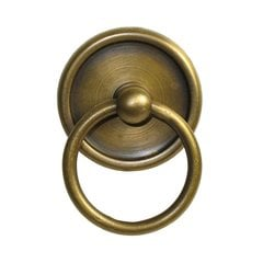 Ring Pulls 1-5/8 Inch Diameter Unlacquered Antique Brass Cabinet Ring Pull