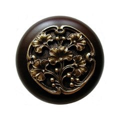 Leaves 1-1/2 Inch Diameter Antique Brass Cabinet Knob <small>(#NHW-702W-AB)</small>