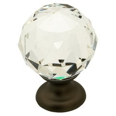 Fire 1-1/8 Inch Diameter Clear Crystal/Bronze Cabinet Knob