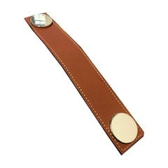 Garage 21-7/16 Inch Center to Center Brown Leather/Polished Chrome Cabinet Pull