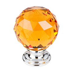Crystal 1-3/8 Inch Diameter Amber Crystal Cabinet Knob <small>(#TK112PC)</small>