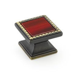 Kingsway Square Knob 1-1/4 inch Diameter Ancient Bronze /Scarlet <small>(#21-ABZ-SC)</small>