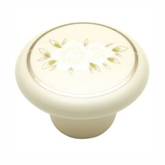 "English Cozy Knob 1-1/2"" Dia White Flower"