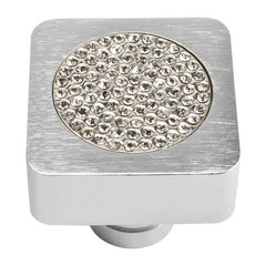 Boutique Crystal 1 Inch Diameter Matte Chrome Cabinet Knob <small>(#3193-MC)</small>
