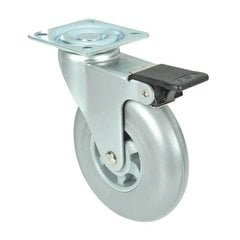 Industrial Caster With Swivel & Brake - Grey