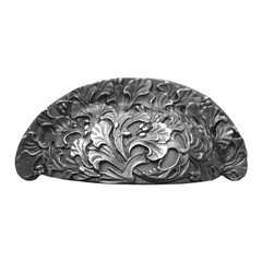 Floral 3 Inch Center to Center Antique Pewter Cabinet Cup Pull
