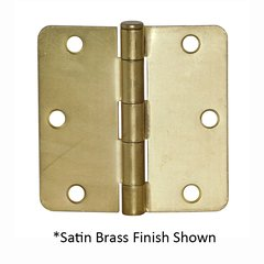 1/4 inch Radius Door Hinge 4 inch x 4 inch Satin Nickel Blackened