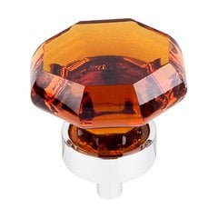 Crystal 1-3/8 Inch Diameter Wine Crystal Cabinet Knob <small>(#TK138PC)</small>