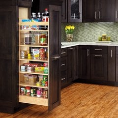 11 inch W x 58 inch H Wood Pantry with Slide