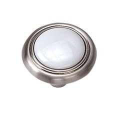 First Family 1-1/4 Inch Diameter White/Satin Chrome Cabinet Knob