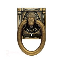 Art Deco 2-3/16 Inch Diameter Floral Brass Cabinet Ring Pull <small>(#12323167)</small>