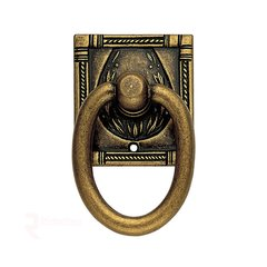 Art Deco 2-3/16 Inch Diameter Floral Brass Cabinet Ring Pull