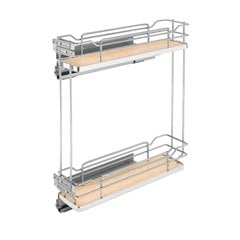 Two Tier Base Organizer with Soft Close 9 inch Chrome/Maple