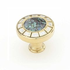 Fair Isle 1-1/2 Inch Diameter Polished Brass Cabinet Knob