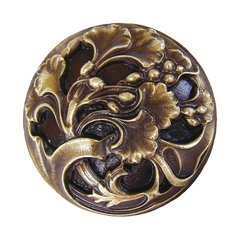 Floral 1-3/8 Inch Diameter Antique Brass Cabinet Knob