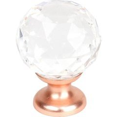 1-3/16 inch Transparent Faceted Knob - Satin Rose Gold