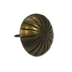 Ribbed Round Clavo 1-1/8 inch Diameter - Antique Brass