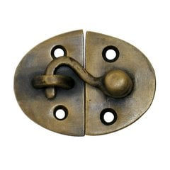 Oval Latch with Hook 1-5/8 inch L x 2-1/8 inch W - Antique Brass