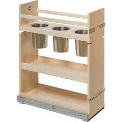 Baltic Birch 12 Inch Wide Canister Pull-Out Organizer with Natural Finish - Includes Soft Close Slides