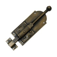 "Cabinet Surface Bolt W/ Latch 7-5/8"" Long - Antique Brass"