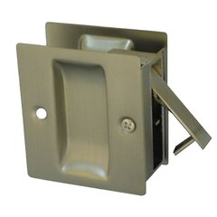 "Pocket Door Lock Passage 2-1/2"" X 2-3/4"" Satin Nickel"