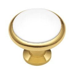 Tranquility 1-3/8 Inch Diameter Polished Brass & White Cabinet Knob <small>(#P427-W)</small>