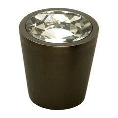 Fire 1-1/16 Inch Diameter Clear Crystal/Bronze Cabinet Knob