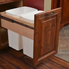 Double Trash Pullout 34 Quart Wood