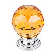 Crystal 1-1/8 Inch Diameter Amber Crystal Cabinet Knob <small>(#TK111PC)</small>