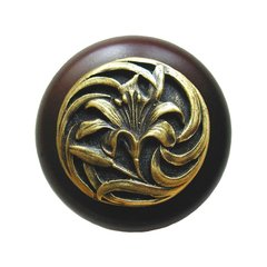 Floral 1-1/2 Inch Diameter Antique Brass Cabinet Knob <small>(#NHW-703W-AB)</small>