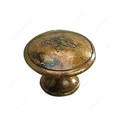 Povera 1-3/16 Inch Diameter Oxidized Brass Cabinet Knob